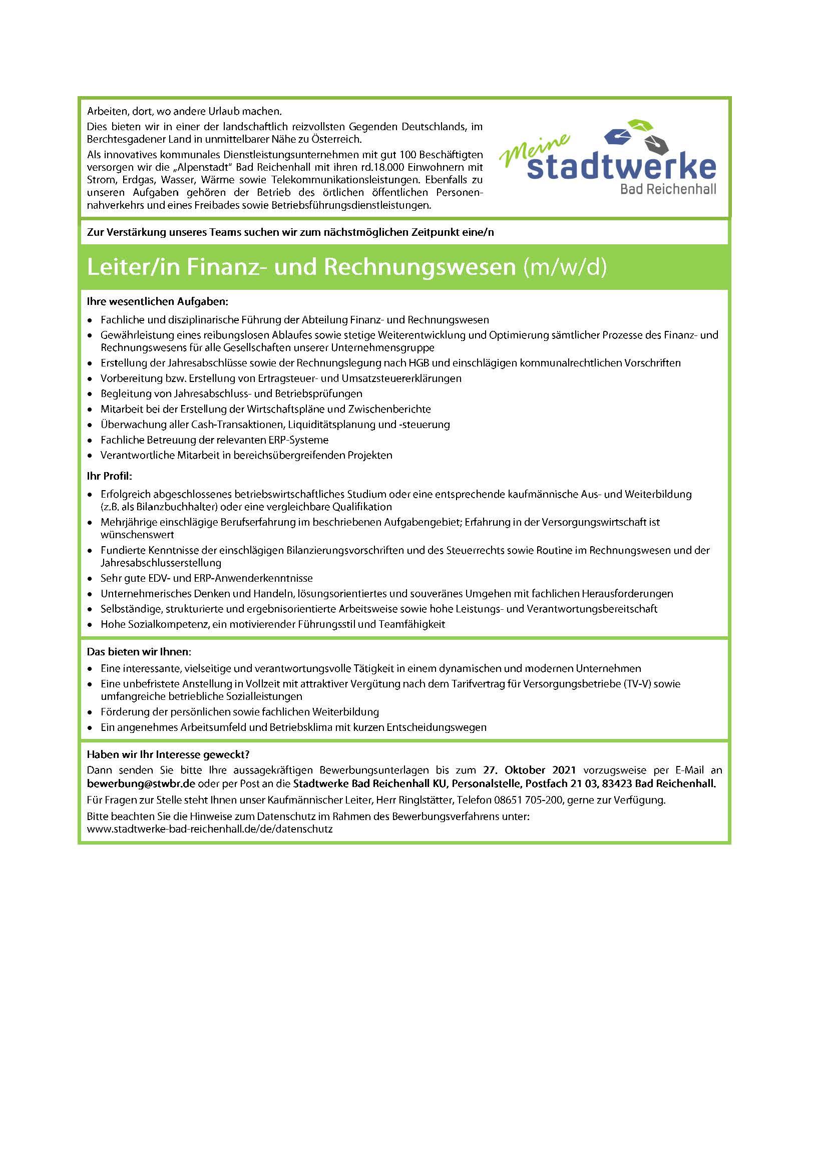 Leiter/in Finanz- und Rechnungswesen (m/w/d)