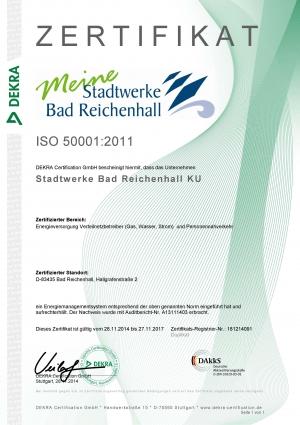 Zertifikat ISO 50001 - 2011